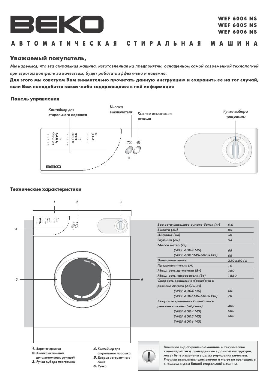 Инструкции по эксплуатации стиральных машин beko