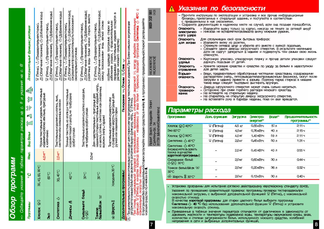 Инструкция bosch wlx 16161 oe