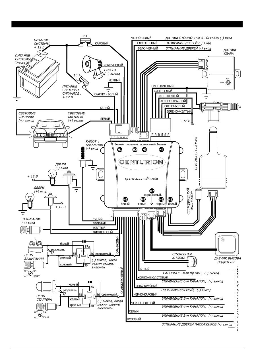 Сигнализация centurion схема подключения фото 593