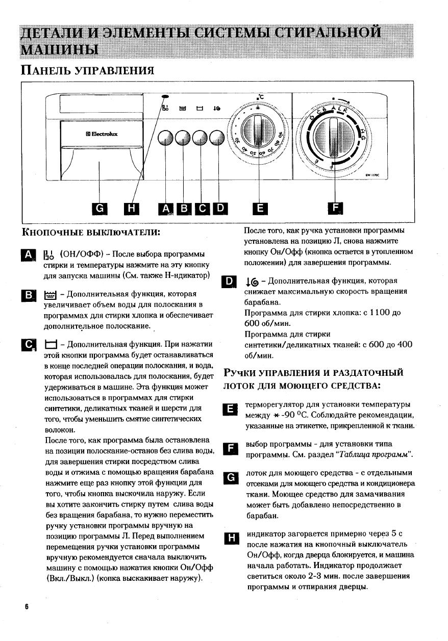 онлайн инструкция к стиральной машинке электролюкс