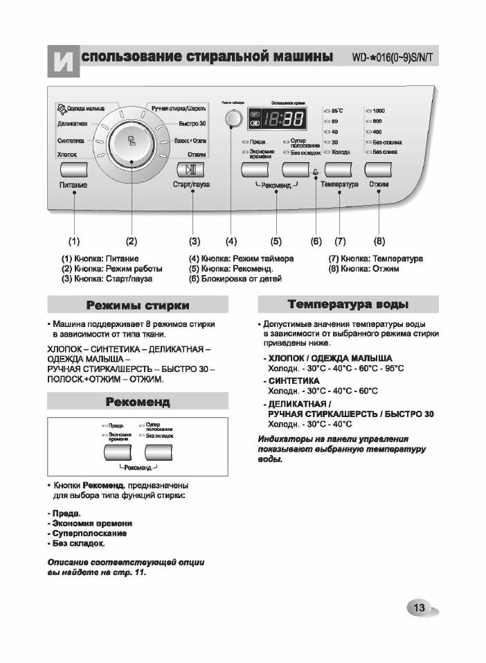 стиральная машина lg wd 80192n инструкция
