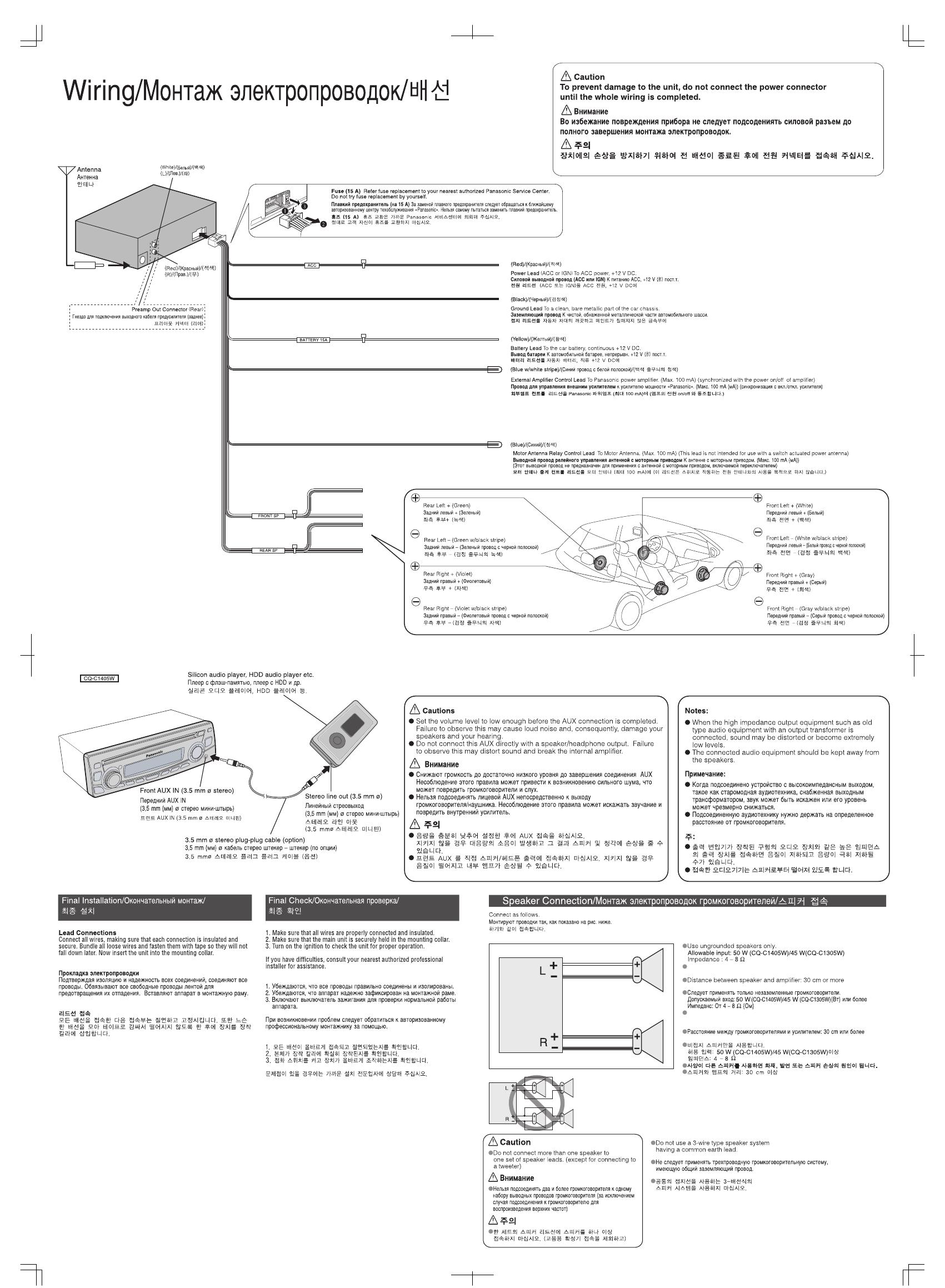 инструкция автомагнитола panasonic cq