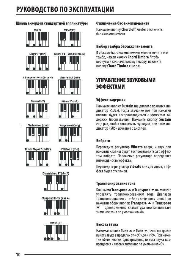 инструкция для синтезатора супра skb 610s