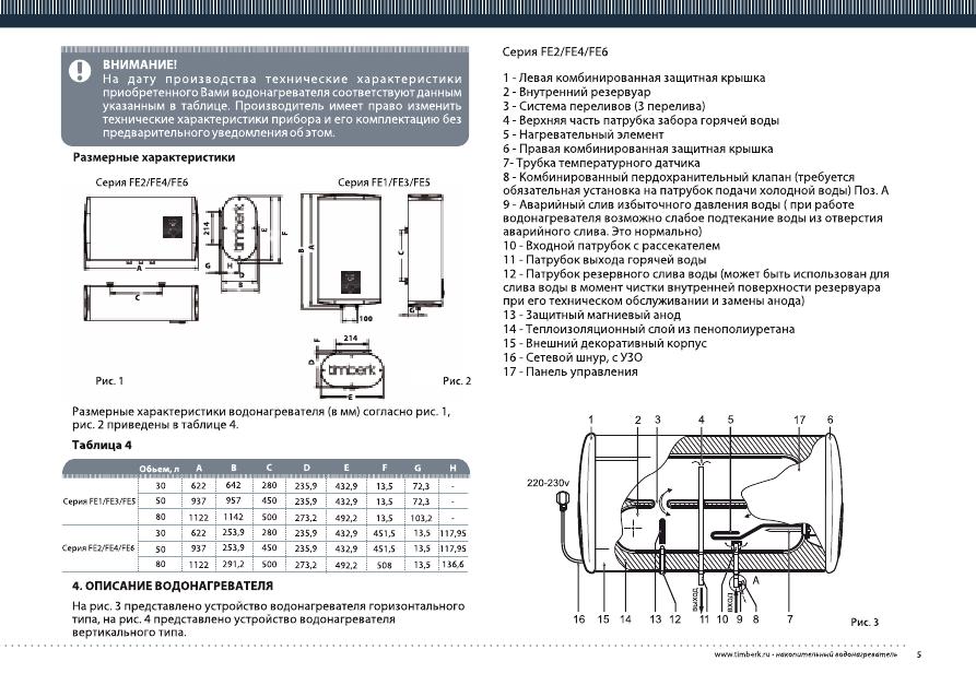 водонагреватель timberk инструкция по эксплуатации