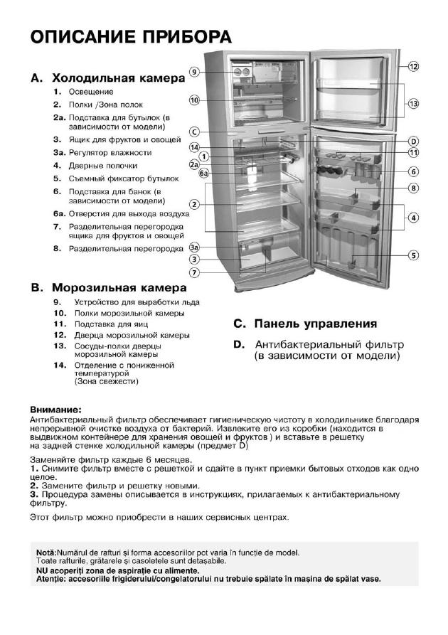 Инструкция к холодильнику вирпул